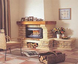 модел 1 Облицовка на камина изработена от туф , декоративни тухлички и дървен плот