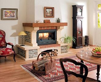 модел 2 Облицовка на камина изработена от туф , гнайс ,декоративни тухлички и дървен плот