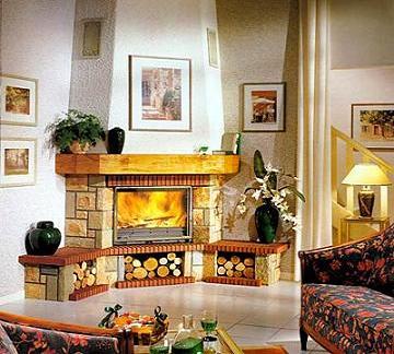 модел 5 Облицовка на камина изработена от гнайс ,декоративни тухлички и дървен плот