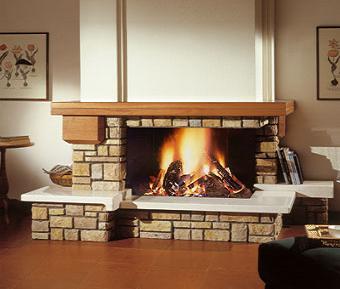 модел 12 Облицовка на камина изработена от врачански камък, гнайс и дървен плот